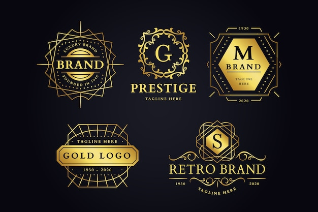 Collection de logo de marque rétro luxueux