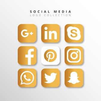 Collection de logo des médias sociaux dorés