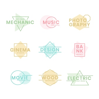 Collection de logo minimal avec des couleurs pastel