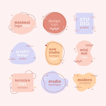 Collection de logo minimal de couleurs pastel