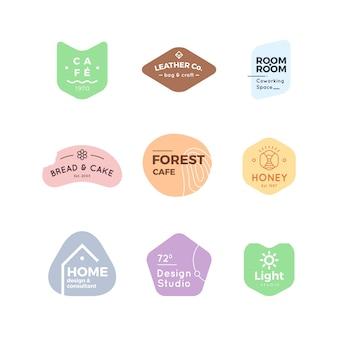 Collection de logo minimal de couleurs pastel