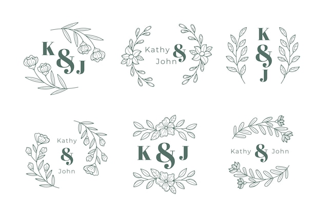 Collection de logo monogramme de mariage