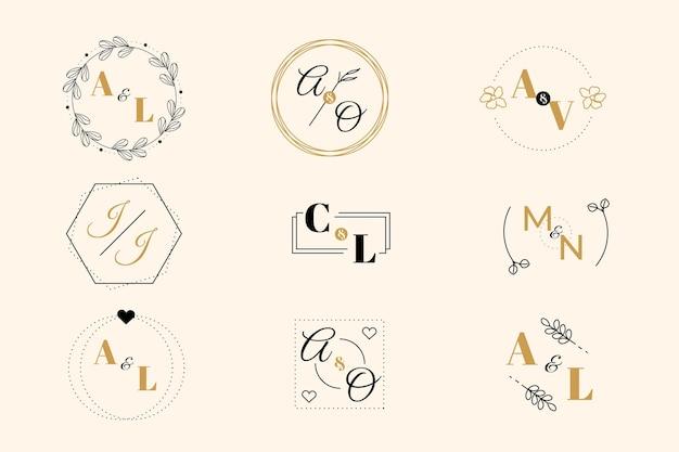 Collection de logo monogramme de mariage