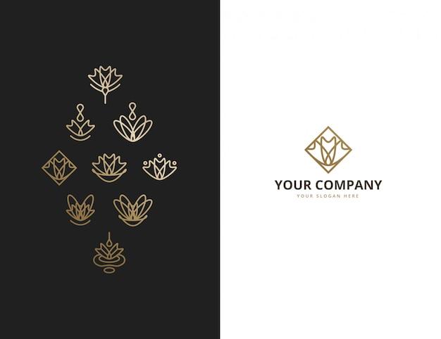 Collection de logo monoline floral abstrait ornemental