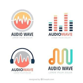 Collection de logo d'onde sonore avec un design plat