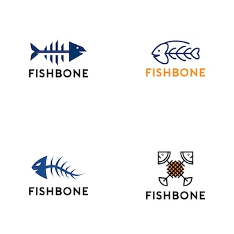 Collection de logo en os de poisson