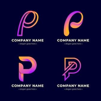 Collection de logo p de couleur dégradé