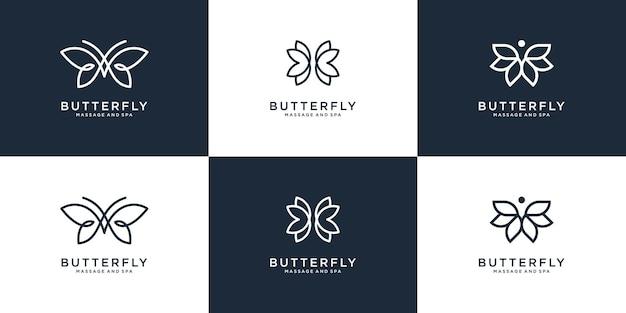 Collection de logo papillon beauté avec style d'art en ligne