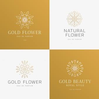 Collection de logo de parfum floral de luxe