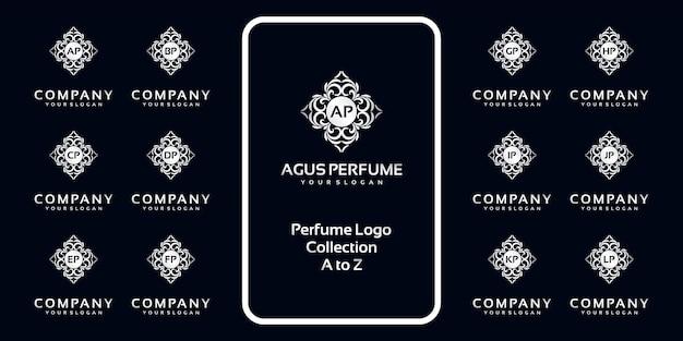 Collection De Logo De Parfum De Luxe Avec Concept Initial. Vecteur Premium