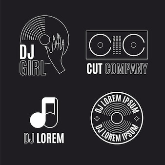 Collection de logo plat dj