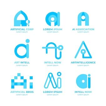 Collection de logo plat d'intelligence artificielle