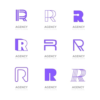 Collection de logo plat r