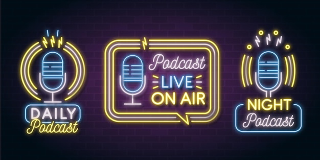 Collection de logo de podcast néon