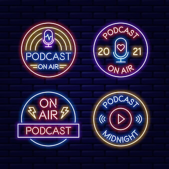 Collection de logo de podcast néon