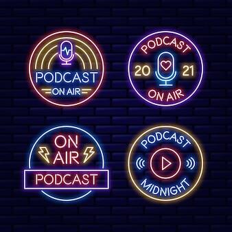 Collection De Logo De Podcast Néon Vecteur Premium