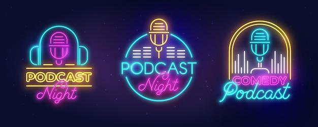 Collection De Logo De Podcast Néon Vecteur gratuit