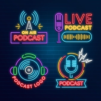 Collection De Logo De Podcast Néon Vecteur gratuit
