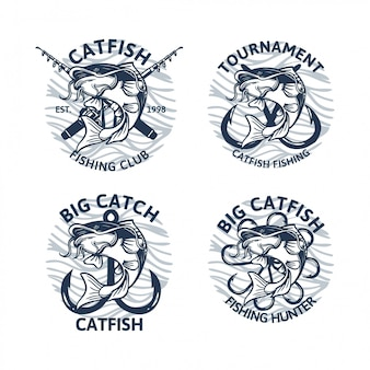 Collection de logo de poisson-chat vintage