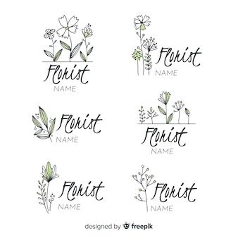 Collection de logo pour fleuriste de mariage
