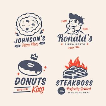 Collection de logo de restaurant de dessin animé rétro