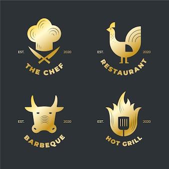 Collection de logo de restaurant rétro doré
