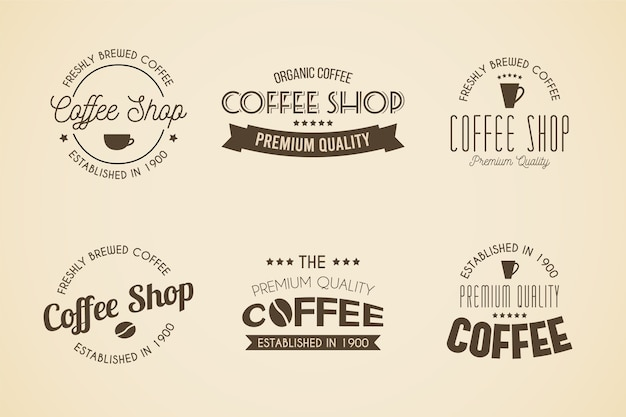 Collection de logo rétro café