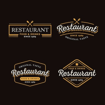 Collection de logo rétro de restaurant