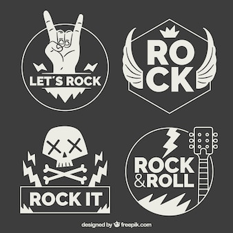 Collection de logo de rock avec un design plat