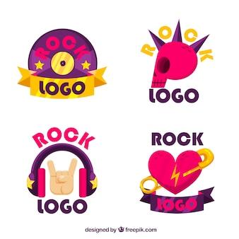 Collection de logo de rock avec un design plat