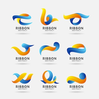 Collection de logo de ruban abstrait