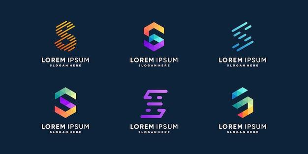 Collection de logo s avec concept d'élément créatif vecteur premium