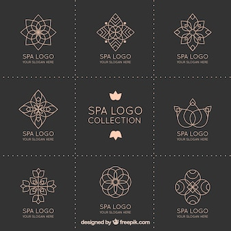 Collection de logo spa dans le style mandala