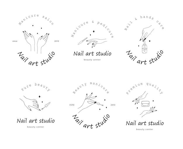Collection De Logo De Studio D'art D'ongle Isolé Sur Blanc Vecteur Premium