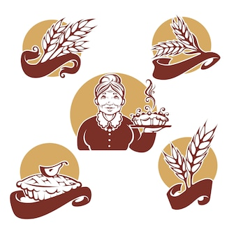 Collection de logo, symboles, étiquettes et emblèmes pour votre boulangerie