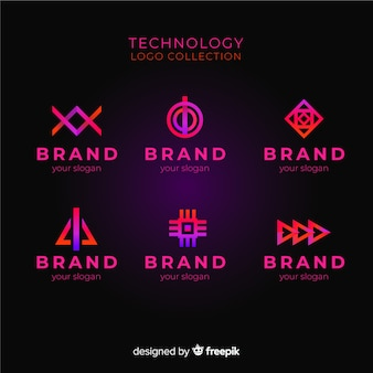 Collection de logo de technologie de gradient
