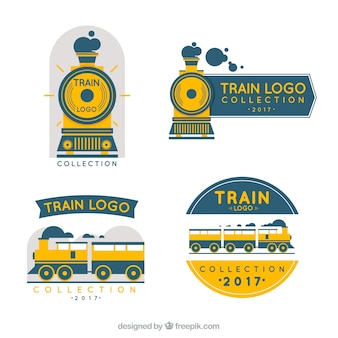 Collection de logo de train en trois couleurs