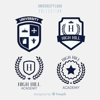 Collection de logo universitaire coloré avec un design plat