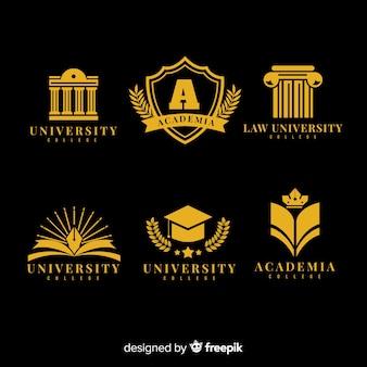Collection de logo universitaire coloré avec un design plat