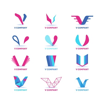 Collection de logo v en deux couleurs