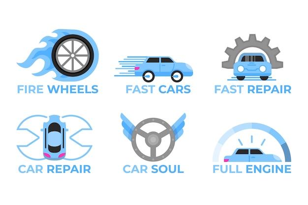 Collection de logo de voiture design plat