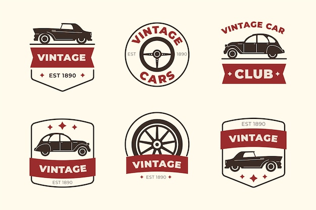Collection de logo de voiture design vintage