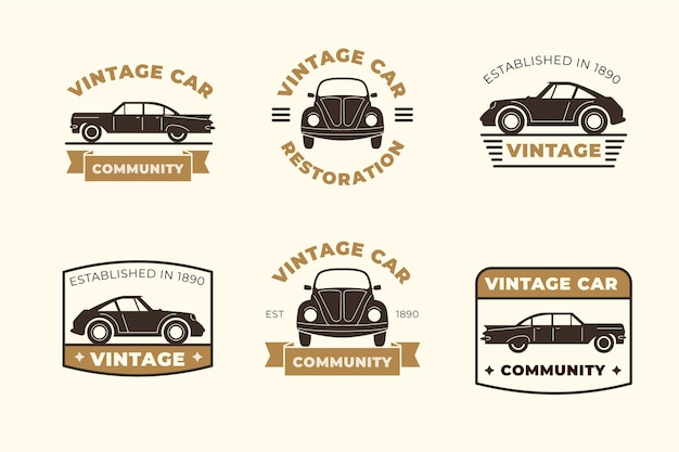 Collection de logo de voiture de style vintage