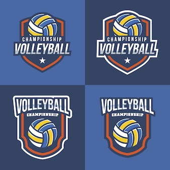 Collection de logo de volleyball avec fond bleu