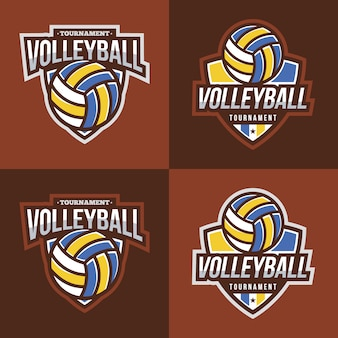 Collection de logo de volleyball avec fond brun