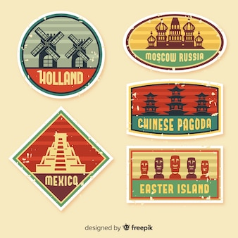 Collection de logo de voyage vintage plat
