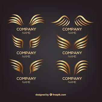 Collection de logos avec des ailes dorées