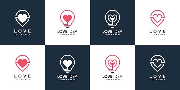 Collection de logos d'amour avec le concept d'élément créatif vecteur premium