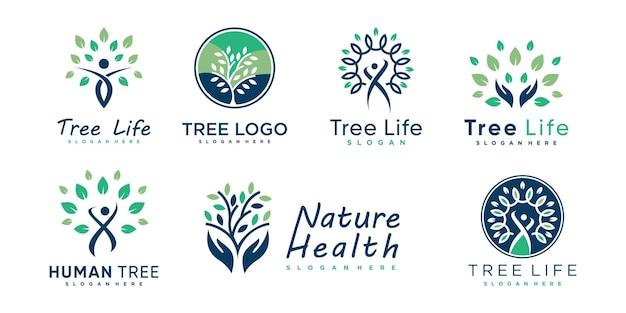 Collection de logos d'arbres avec un concept unique et créatif vecteur premium