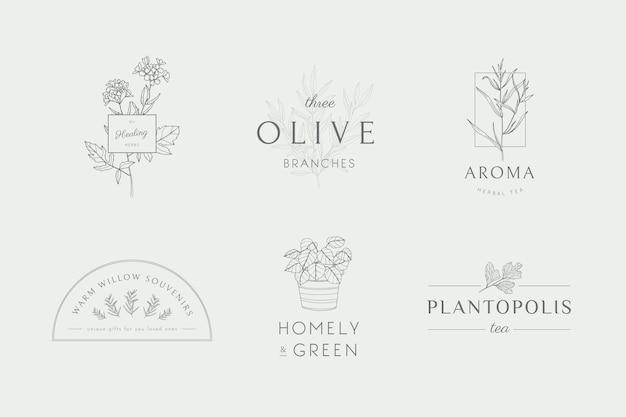 Collection de logos d'art au trait naturel
